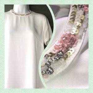 2/$32 H&M Embellished Collared Blouse Sz 8
